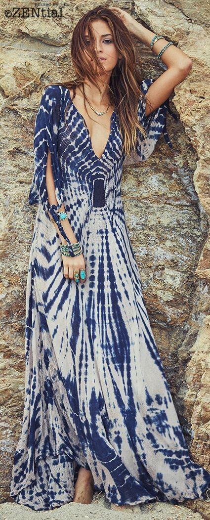 Boho Blue And White Maxi Dress