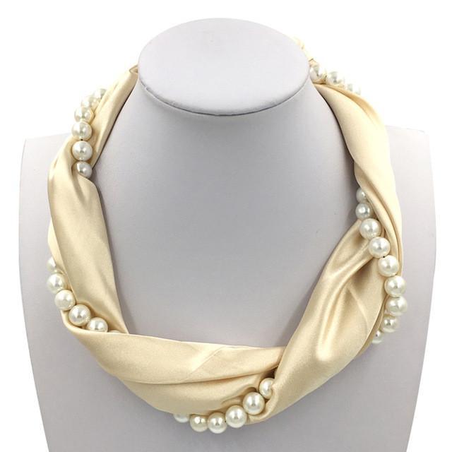 Neckoscarf Silk & Pearl Jewelry Choker Necklace Scarf Women 10 colors Available #pearljewelry