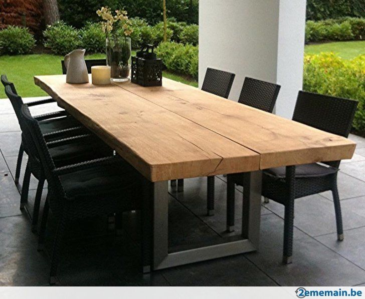 Plateau ch ne massif blanc 52 mm planche brut table - Table cuisine bois brut ...