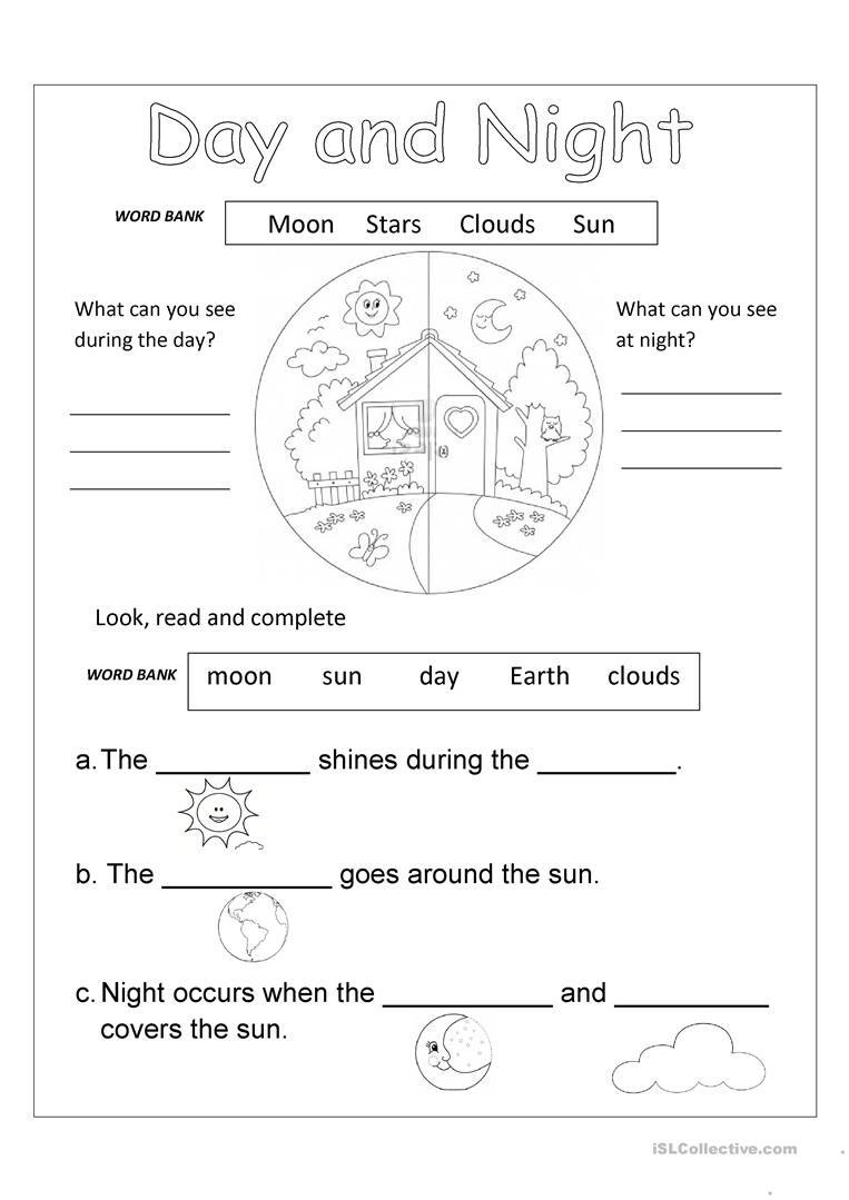 Day And Night English Esl Worksheets For Distance Learning And Physical Classrooms In 2020 Free Science Worksheets Science Worksheets Kindergarten Science