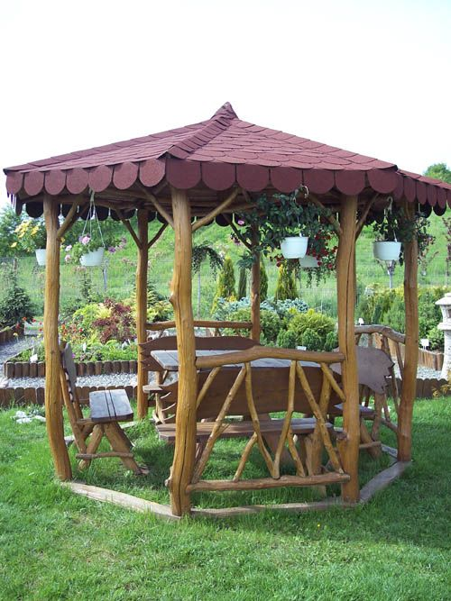 Rustic Gazebo Round Gazebo Log Trees Outdoor Wood Furniture Outdoor Gardens Design Outdoor