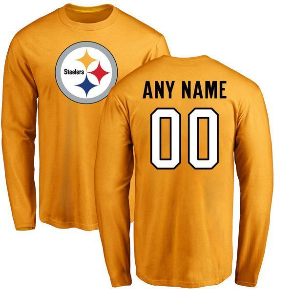 f395756fe3e Men Pittsburgh Steelers NFL Pro Line Gold Custom Name and Number Logo Long  Sleeve T-Shirtcheap nfl jerseys