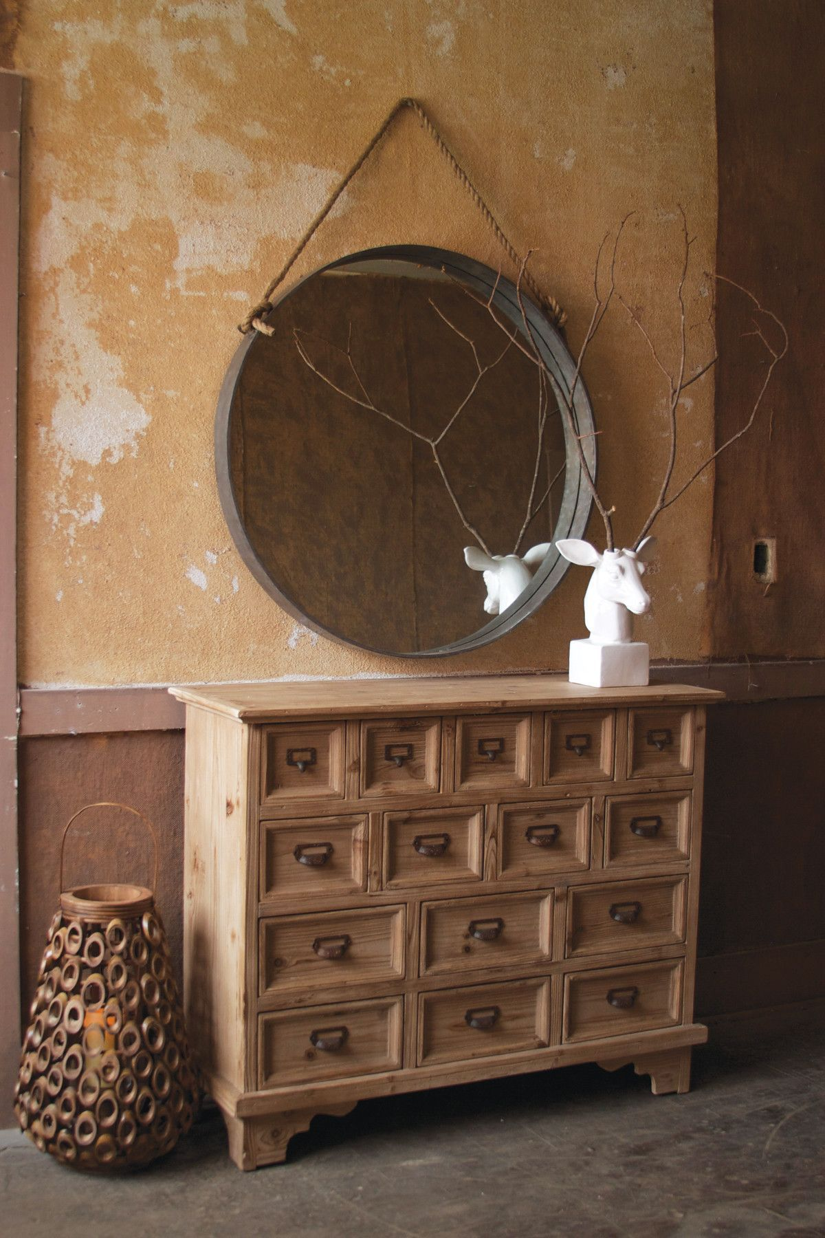 Round Mirror With Metal Frame And Rope Accent First Of