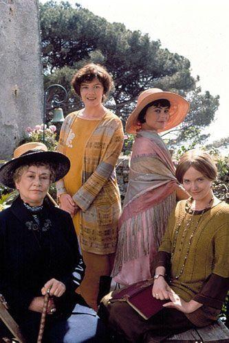 From Enchanted April (1991) - Mrs. Fisher (Joan Plowright), Lottie Wilkins (Josie Lawrence), Caroline Dester (Polly Walker), and Rose Arbuthnot (Miranda Richardson).