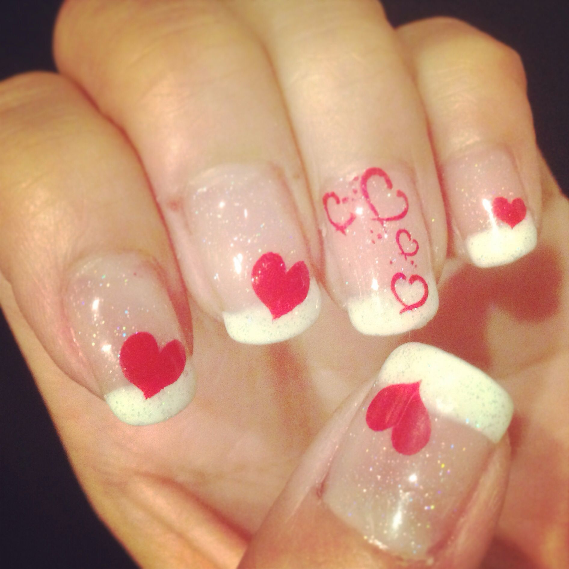 Valentine\'s Day Theme nails. French tips with hearts. Gelish polish ...