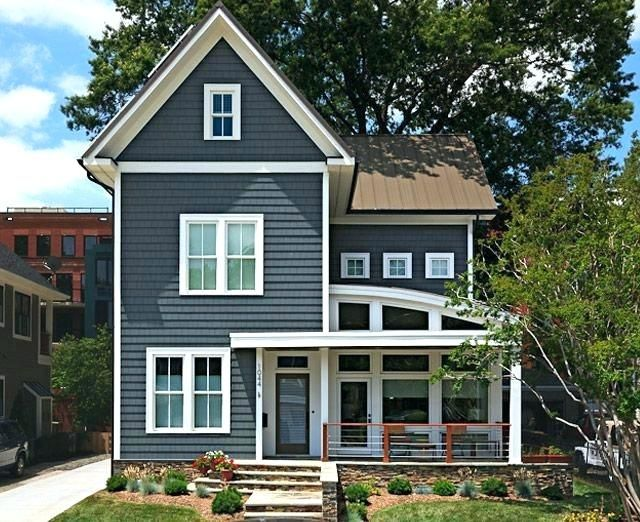 Best Gray House White Trim Brown Roof Dark Green Roof Houses 400 x 300