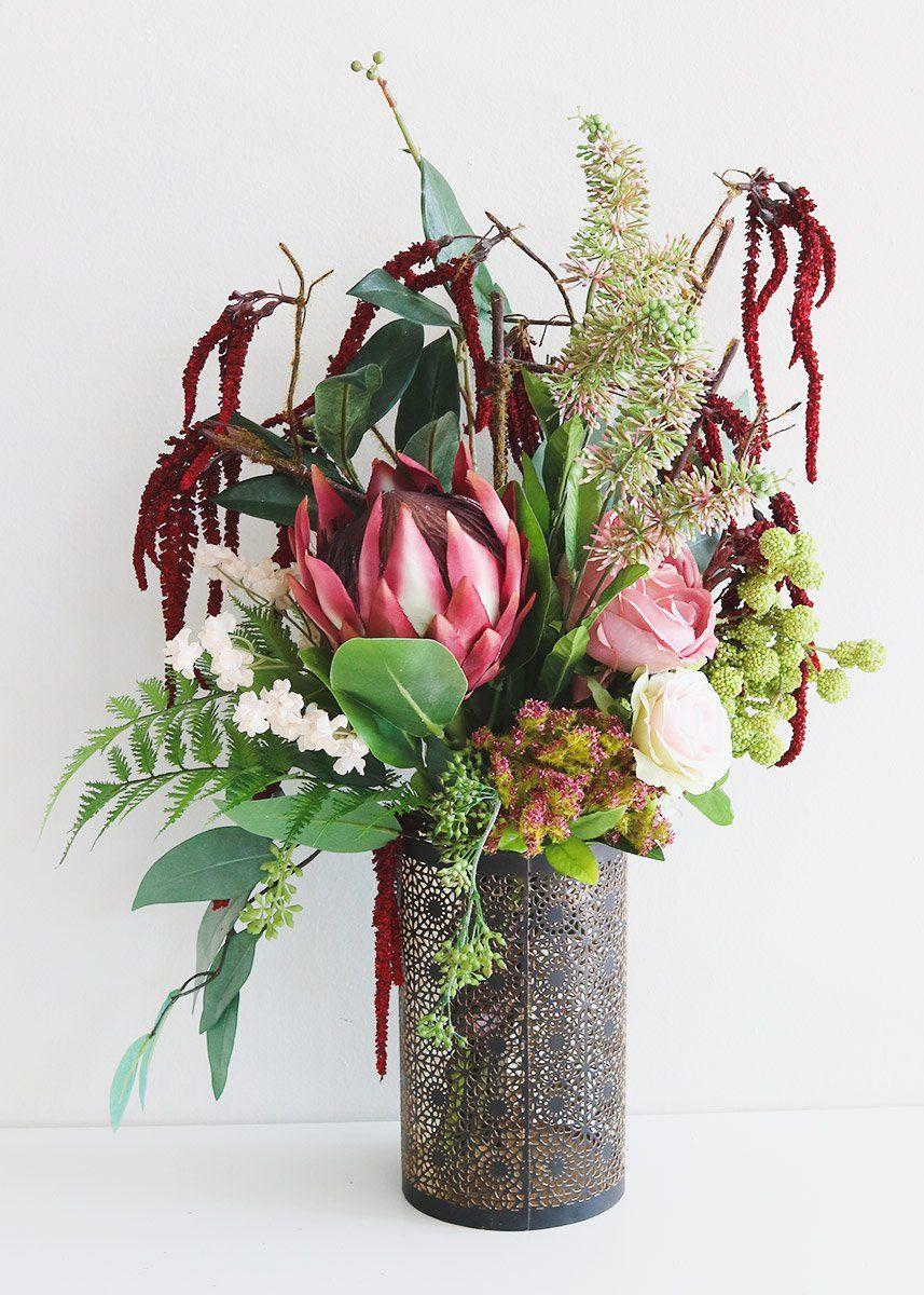 Burgundy Protea Stem Artificial Tropical Flowers Afloral Com