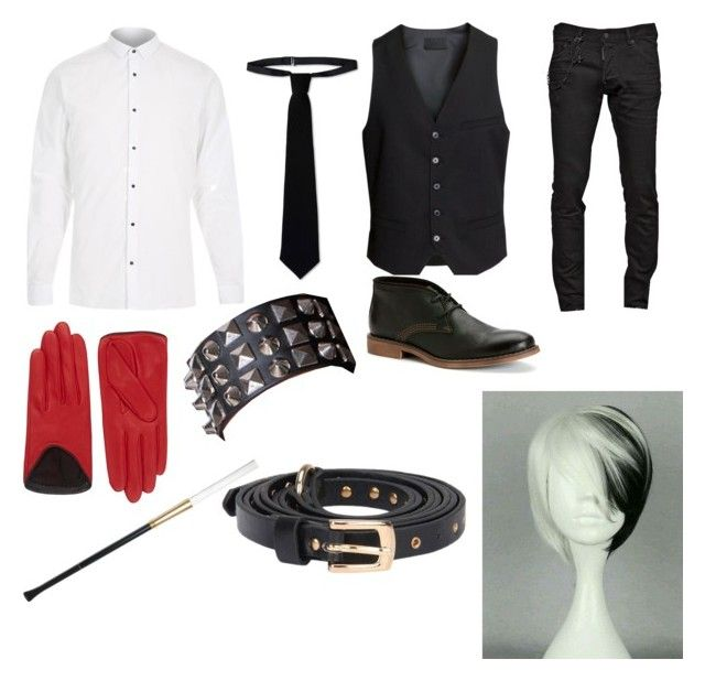 """""""Cruella Deville(male version)"""" by ashtheyandere ❤ liked on Polyvore featuring River Island, RED Valentino, H&M, Dsquared2, rag & bone, WithChic and Calvin Klein Jeans"""
