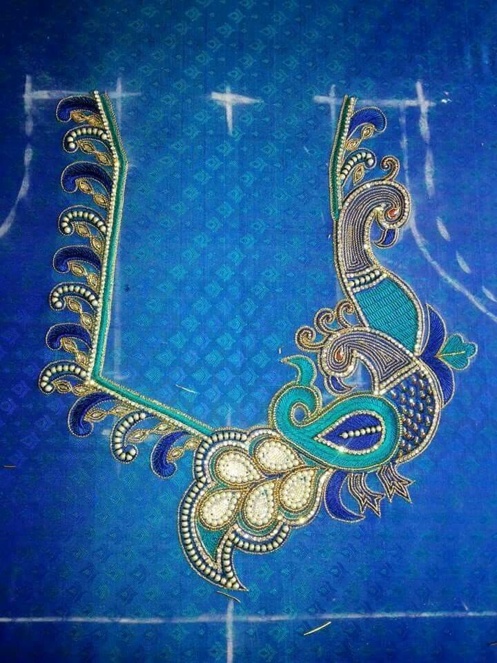 one side peacock thread work | kanniya aari works | Pinterest ...