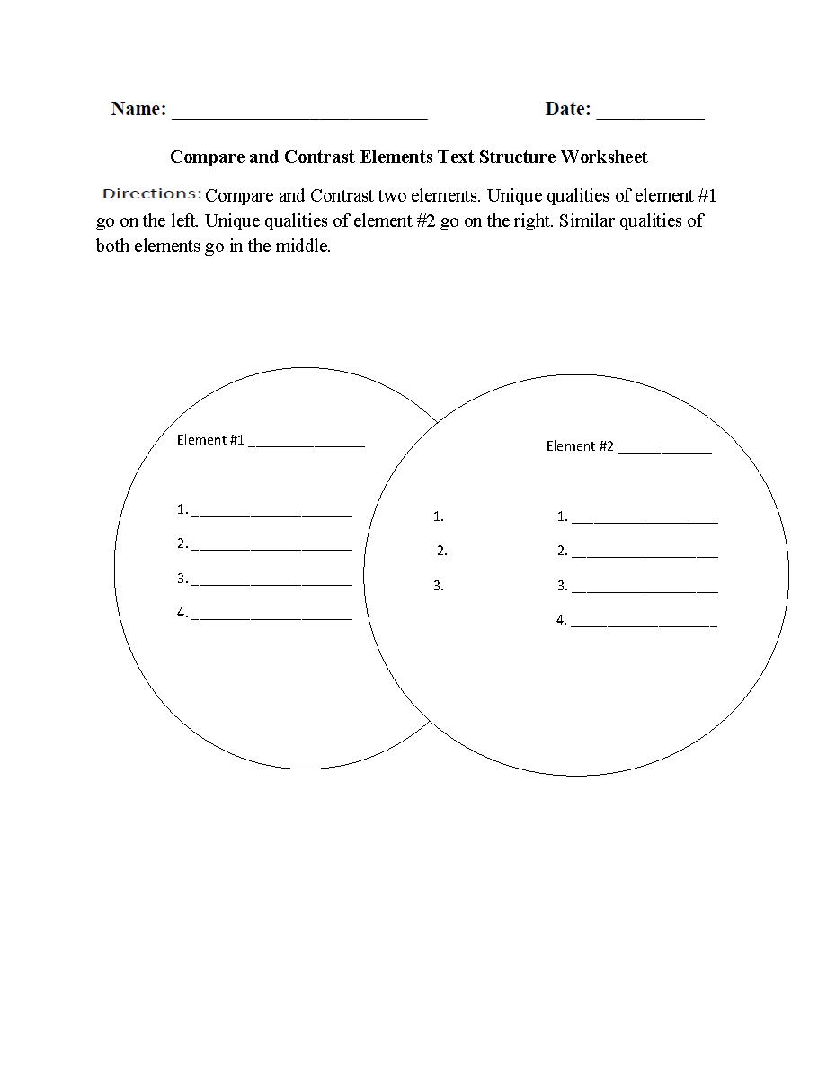 Worksheets Text Structure Worksheet compare and contrast elements text structure worksheet udforsk disse og meget mere worksheet