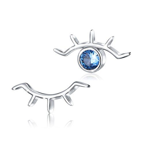 925 Sterling Silver Blue Evil Eye Double Strand Bracelet Necklace Stud Earrings Jewelry for Women Girls Ladies