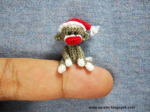 Miniature Sock Monkey With Santa Hat - Tiny Mini Crocheted Grey ...