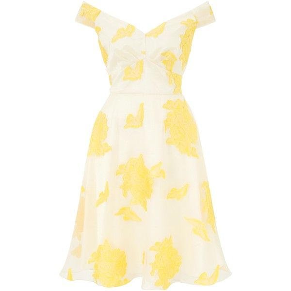 Ariella Nova Off Shoulder Prom Dress, Orange/Yellow ($115) ❤ liked ...