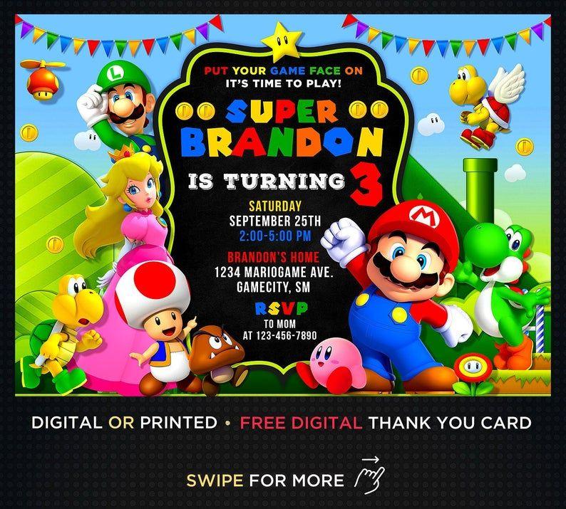 super mario birthday boy invitation