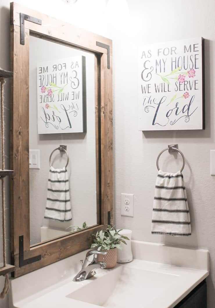 Diy Bathroom Mirror Frame Without Removing Mirror Clips Her Happy Home In 2020 Bathroom Mirrors Diy Bathroom Mirror Frame Mirror Frame Diy