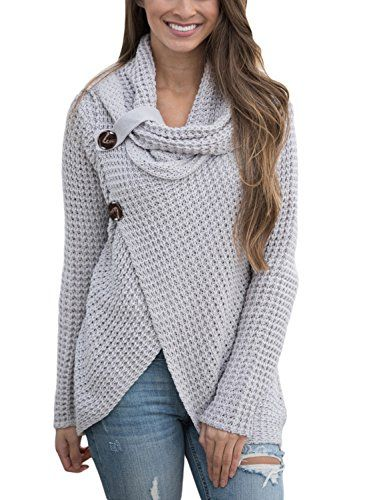 819afd964f Asvivid Women s Chunky Turtle Cowl Neck Asymmetric Hem Wrap Sweater Coat  with Button Details Women s Sweaters