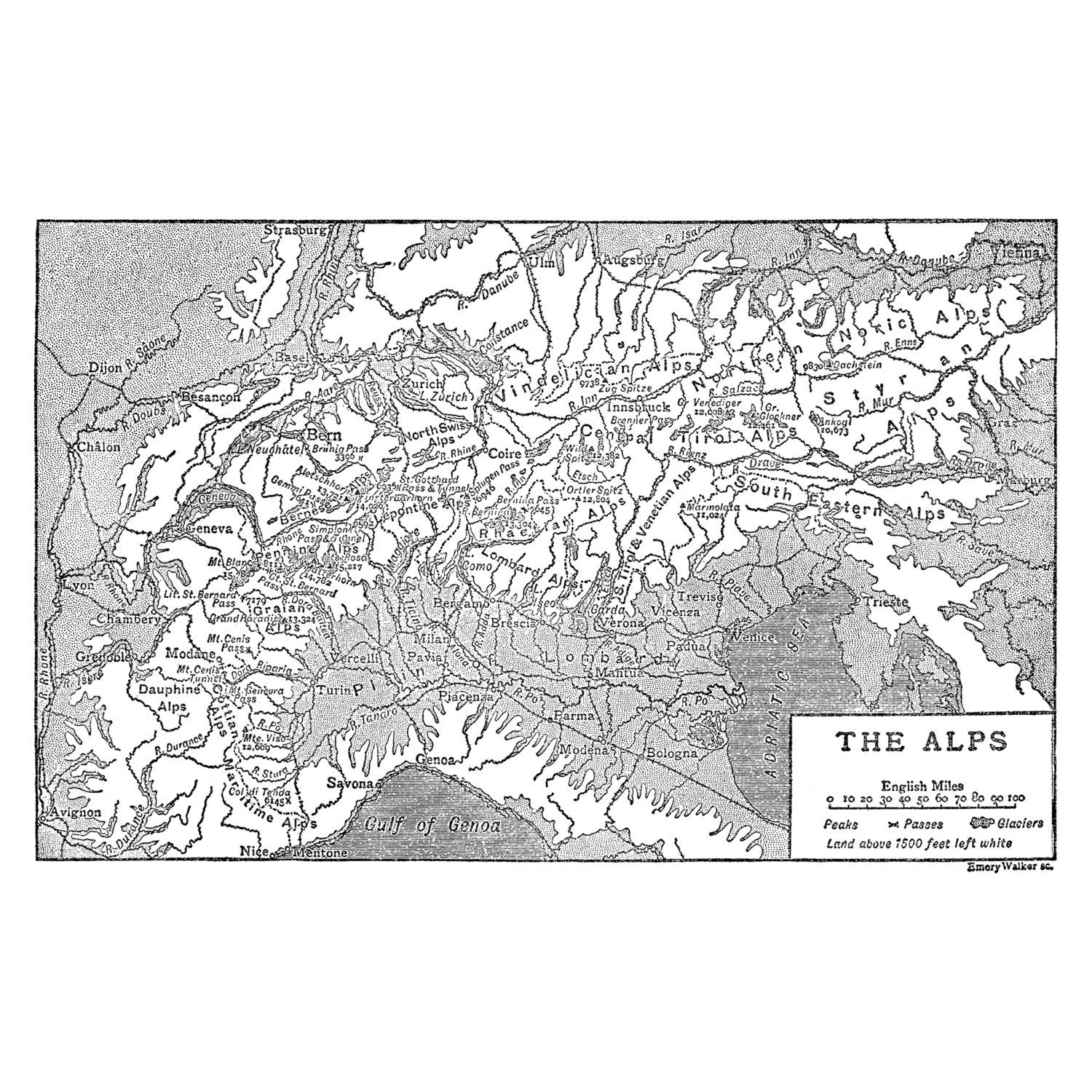The Alps, Instant Download Pre-World War I Map 1910 ...
