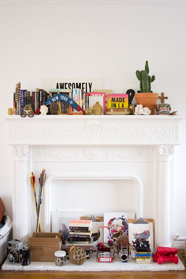 Solid white fireplace
