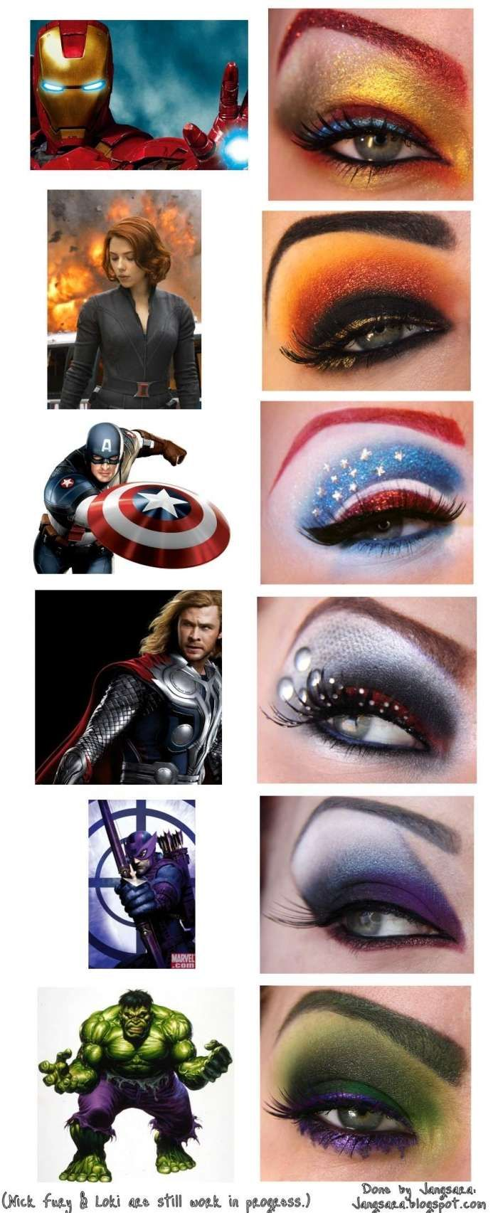 Avengers eye make up. How cool is that? It satisfies my love of make up and all…