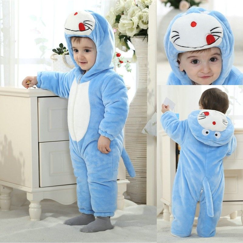 f72069604 Doraemon Baby Cartoon Kigurumi Costume Flannel Warm Onesies Pajamas ...