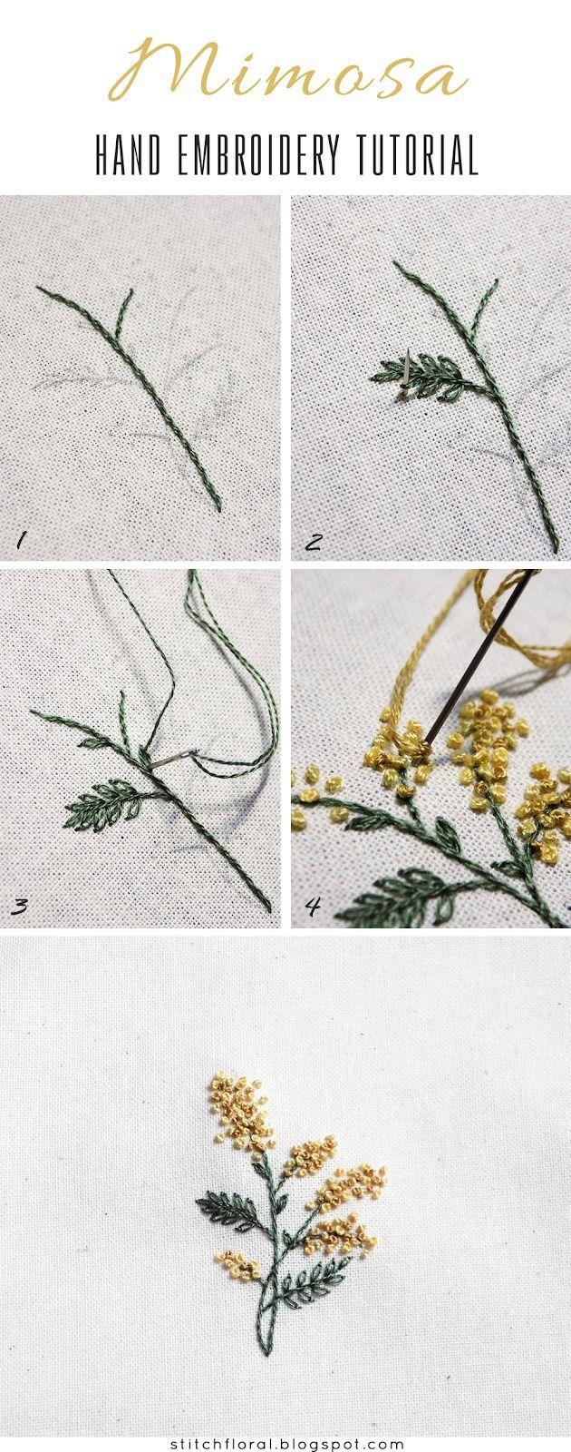 Miniatures printanières brodées: Mimosa. Patron PDF et tutoriel   – DIY