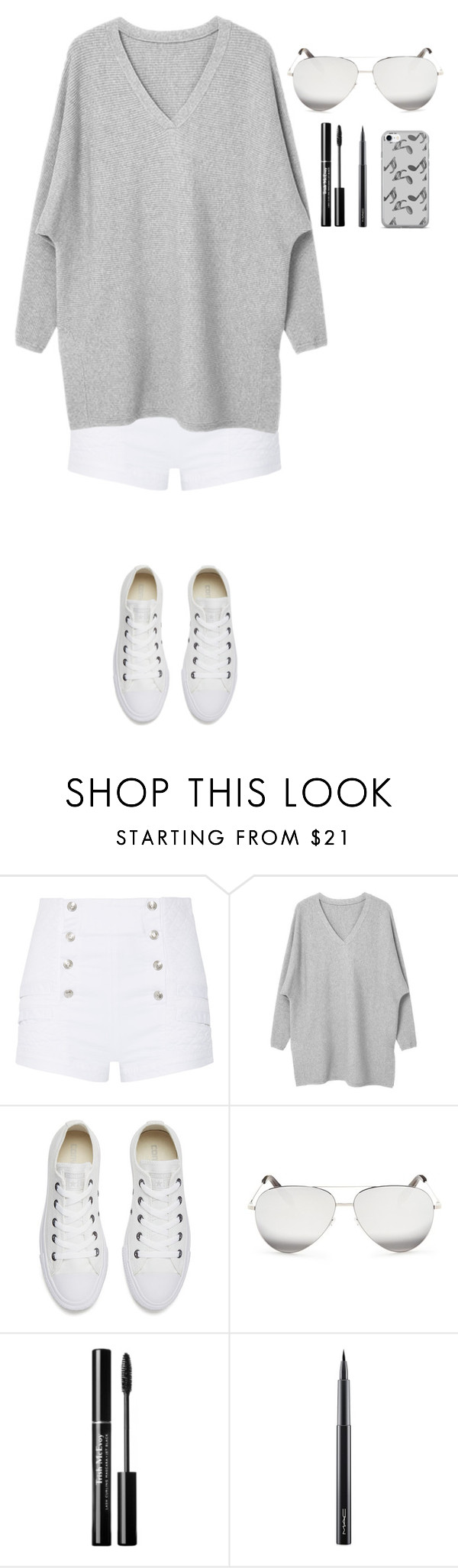 """""""Untitled #348"""" by dutchfashionlover ❤ liked on Polyvore featuring Pierre Balmain, Converse, Victoria Beckham, MAC Cosmetics, Music Notes and grey"""