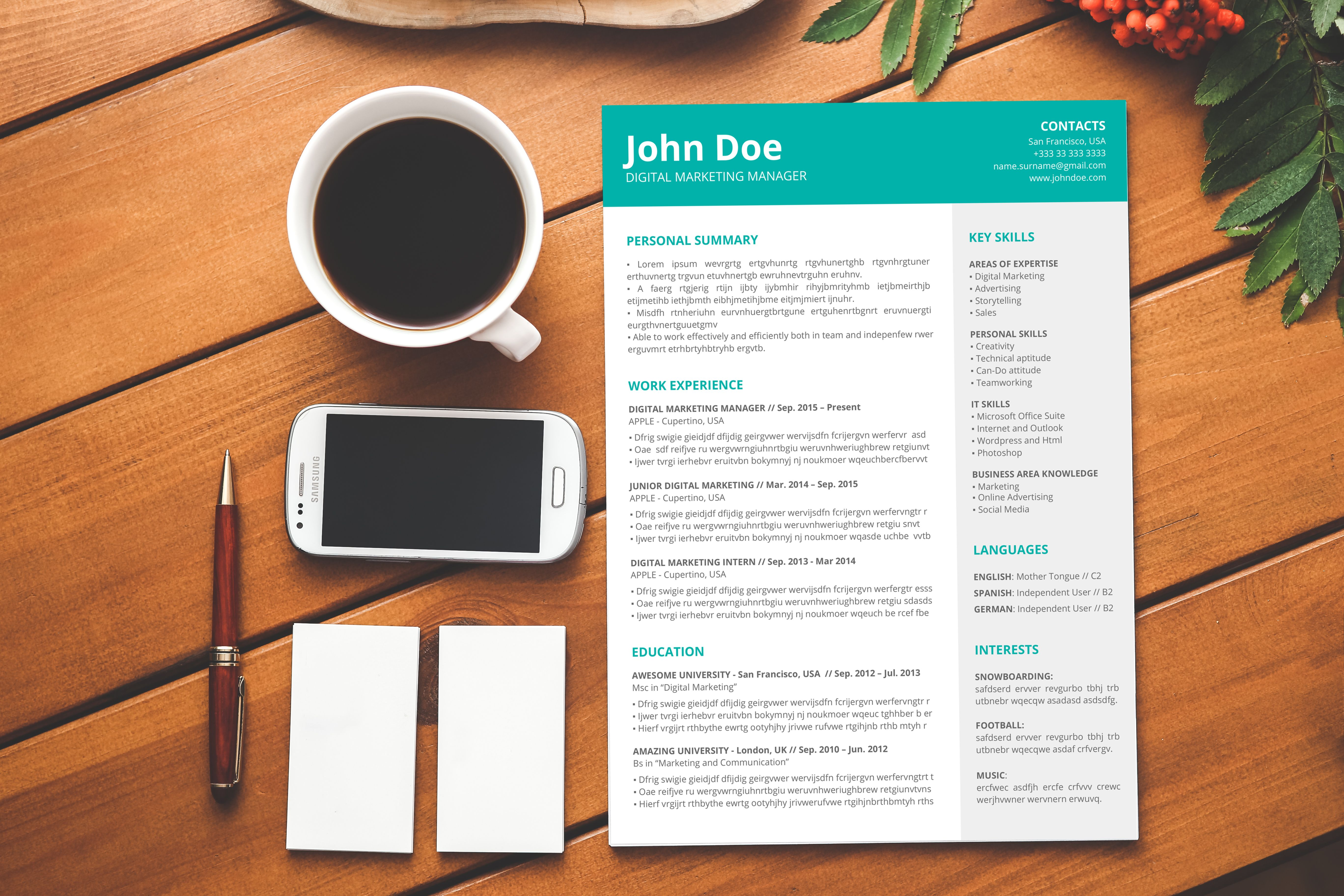 Modern And Simple Resume Template Cv Template And Cover Letter