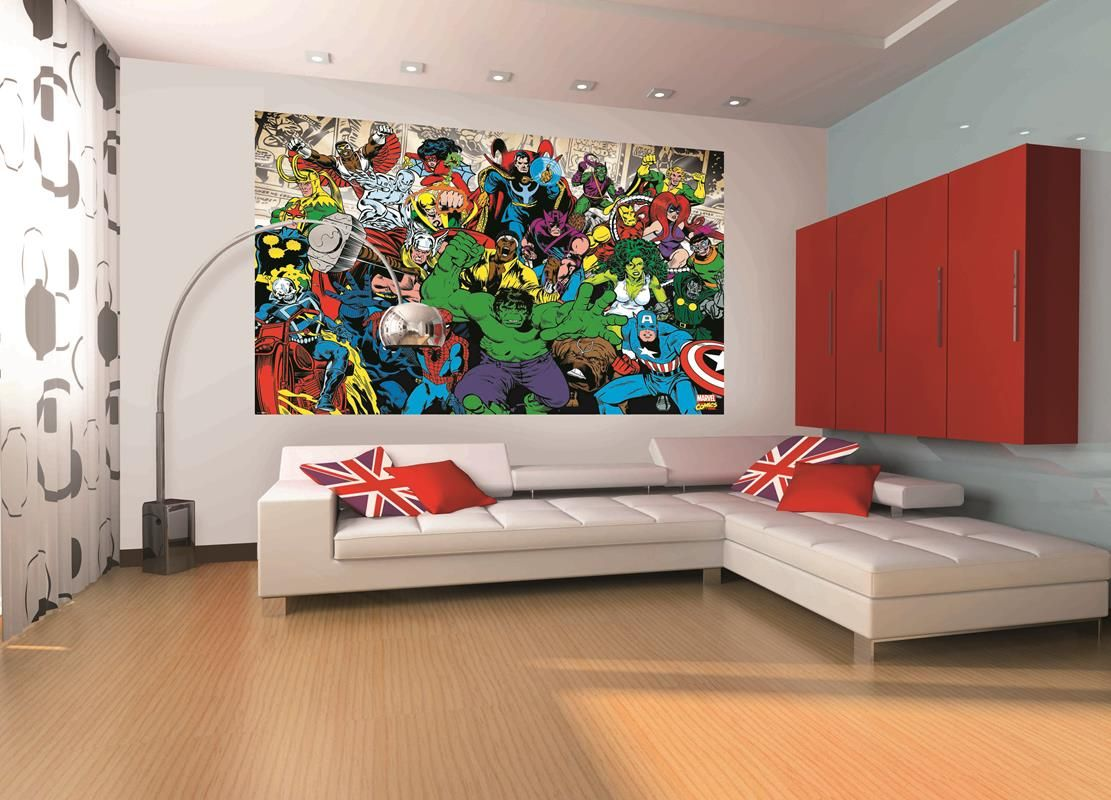 Marvel Mural Home Decor Wallpaper Wallmural 1wall Children Bedroom Superhero Hero