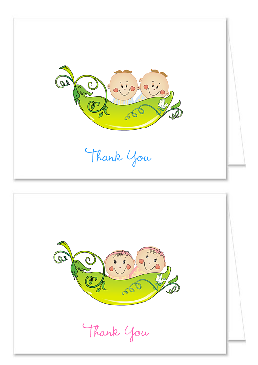 Two Peas in a Pod Baby Shower Thank You Note Cards