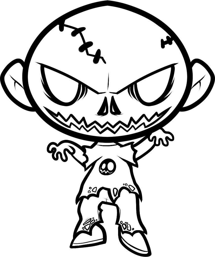 Famoso Halloween Aterrador Para Colorear Inspiración - Dibujos Para ...