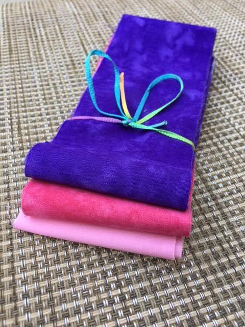 Mini Fabric Jelly Roll- 6 Strip Pack- Purple, Pink