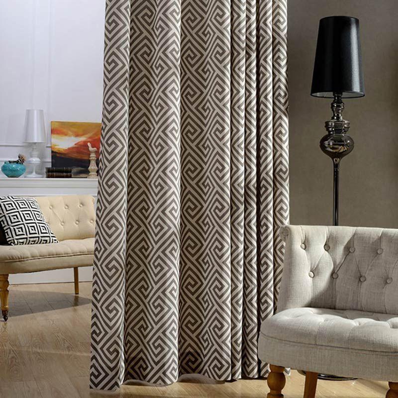 Modern Vorhang Geometrie Muster Design im Schlafzimmer