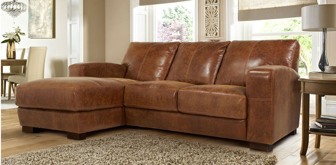 Left hand facing 3 seater chaise end sofa for Brown leather chaise end sofa