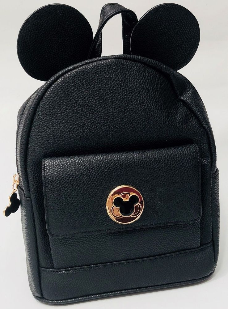 DISNEY MICKEY MOUSE EARS BLACK GOLD BADGE RUCKSACK BACKPACK - Brand New  69af63c7c438d