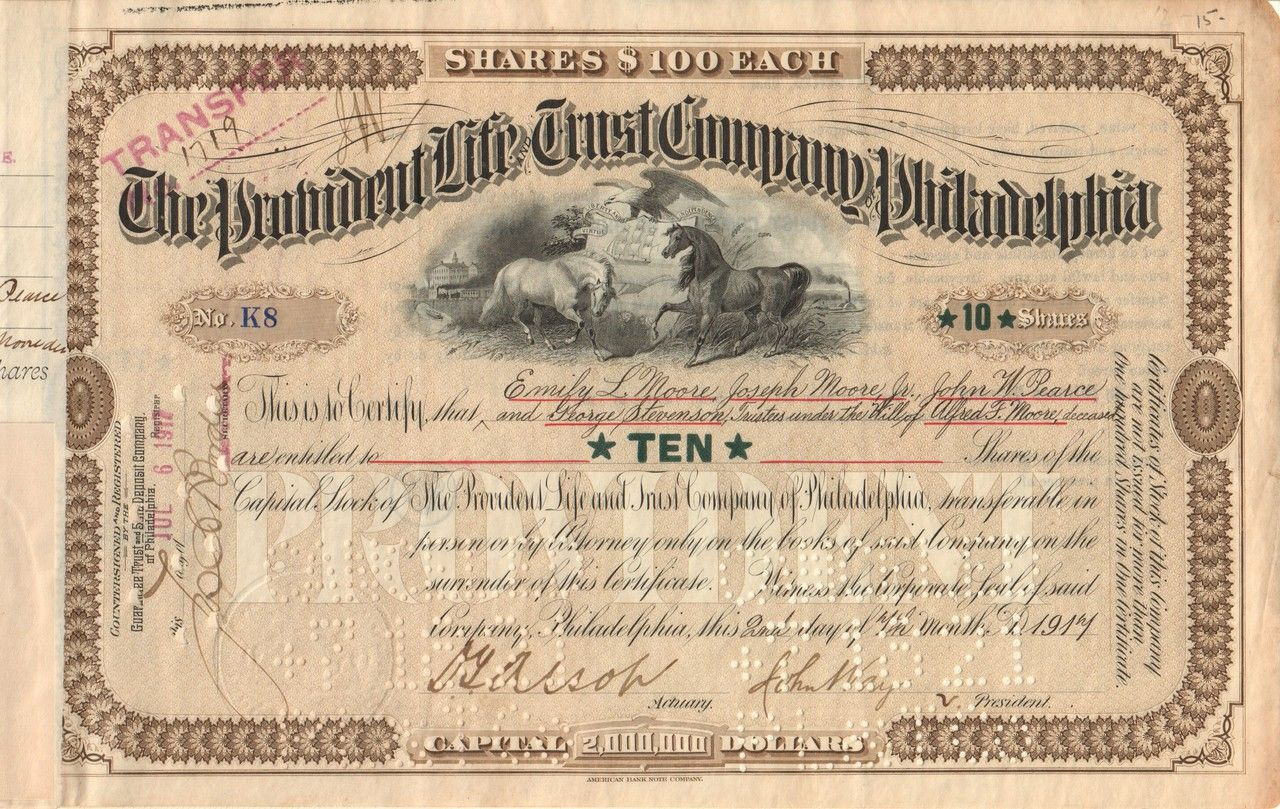 Provident Life Trust Company 1914 Philadelphia