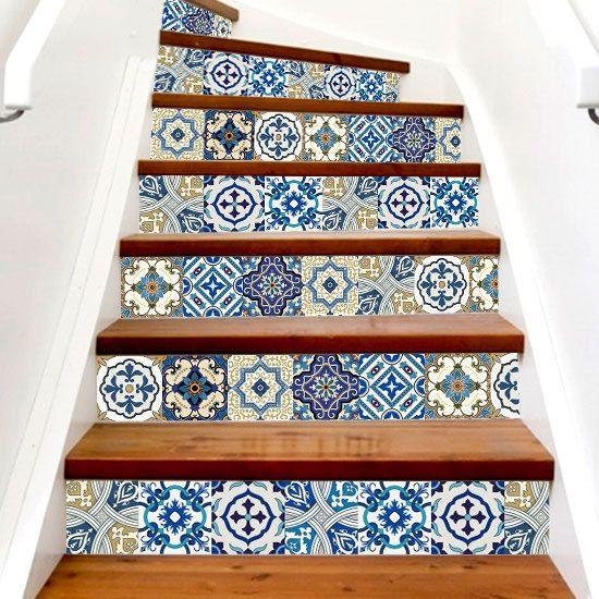 Vinyl Stickers Blue Moroccan Portugues Tiles Azulejo