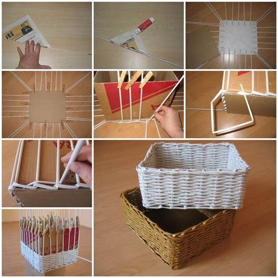 High Quality Woven Newspaper Basket Square Or Rectangular Materials You Will Need: Old  Newspaper Cardboard Glue Wire/skewer Clothespins Scissors