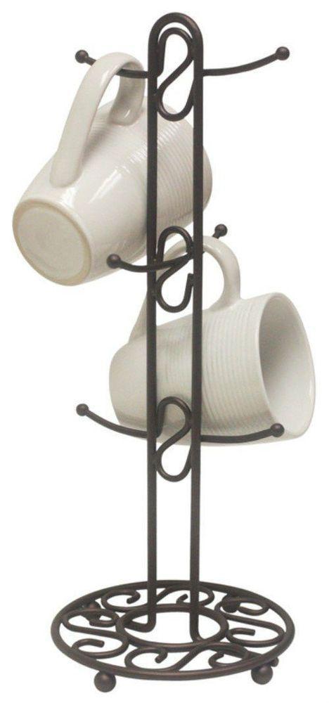 New 6 Mug Tree Holder Bronze Kitchen Rack Storage Coffee Cup Stand Organization Home Basics Mug Tree Mug Holder
