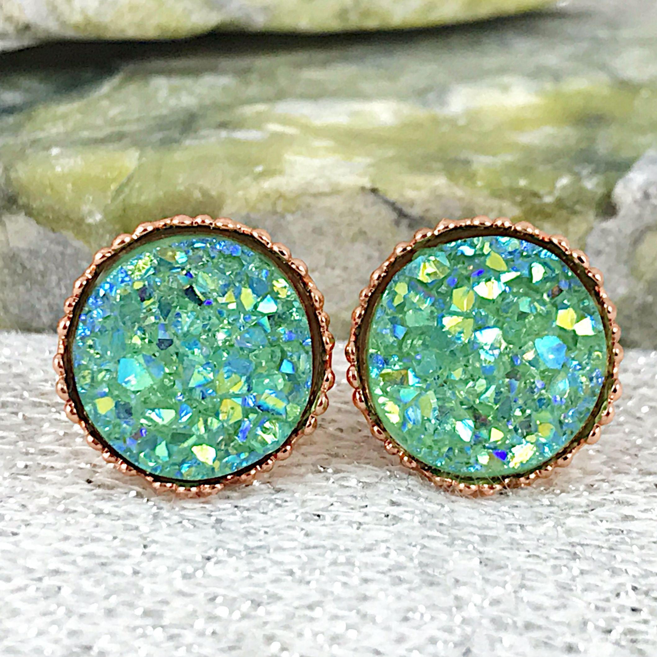 Druzy Earrings Druzy Ring Bridesmaid Gift Druzy Mint Green Druzy Jewelry Set Mint Mint Green Flower Girl Jewelry Druzy Jewelry