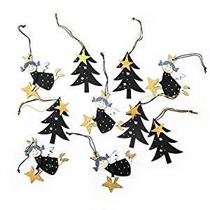 10 Stuck Weihnachts Deko 5 Stuck Schwarz Goldene Engel Anhanger