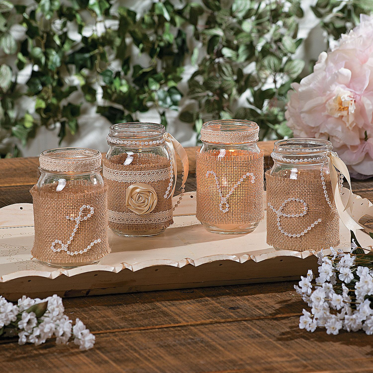 Diy wedding centerpieces using pearls burlap ribbon and for Diy wedding table decorations