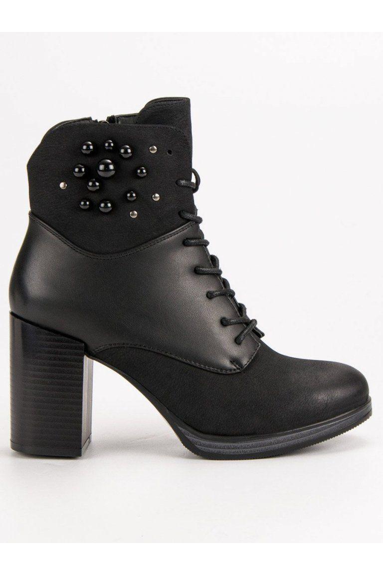 96a933dd99 Čierne zdobené topánky na opätku Vinceza