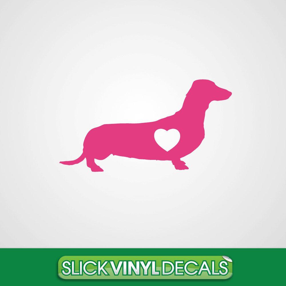Dachshund Dog Decal Car Decal Sticker Vinyl By Slickvinyldecals Dog Decals Car Dog Decals Dachshund Dog [ 1000 x 1000 Pixel ]
