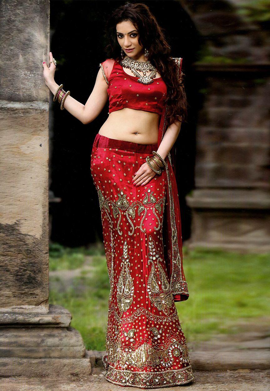 Red net lehenga choli with dupatta lhm navel queens