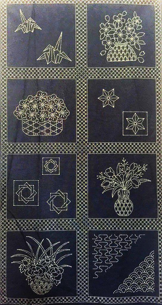 Sashiko Pre Printed Panel Flower Baskets Dark Navy Embroidery