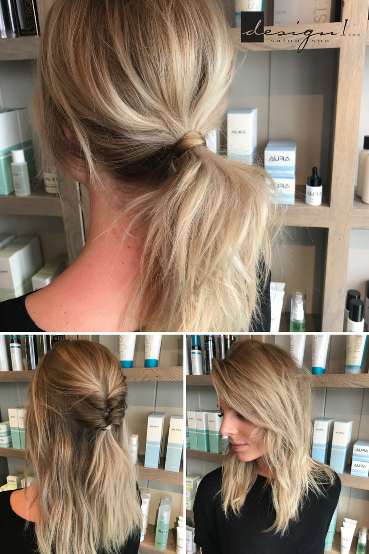 Kenzie From Our Gaines Location Shows Us 3 Fun Quick And Easy Ways To Style Medium Length Hair Design1s Medium Length Hair Styles Cool Hairstyles Spa Salon