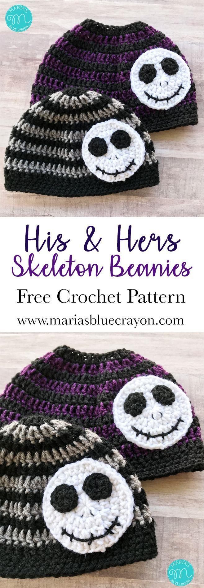 Skeleton Messy Bun Beanie Crochet Pattern | Gorros, Sombreros de ...