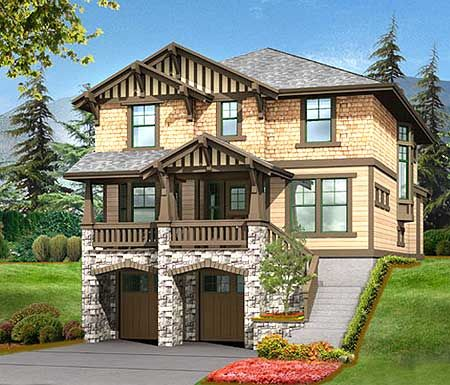 Incroyable Plan 23372JD: 3 Bed House Plan For Front Sloping Lot