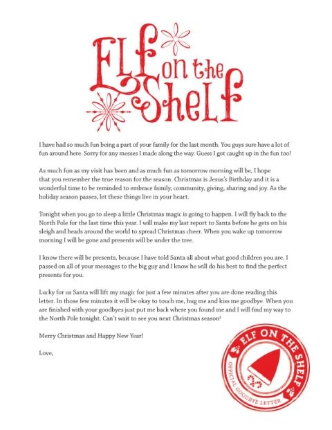 Printable Goodbye Letter from Elf on the Shelf Elves Shelves and