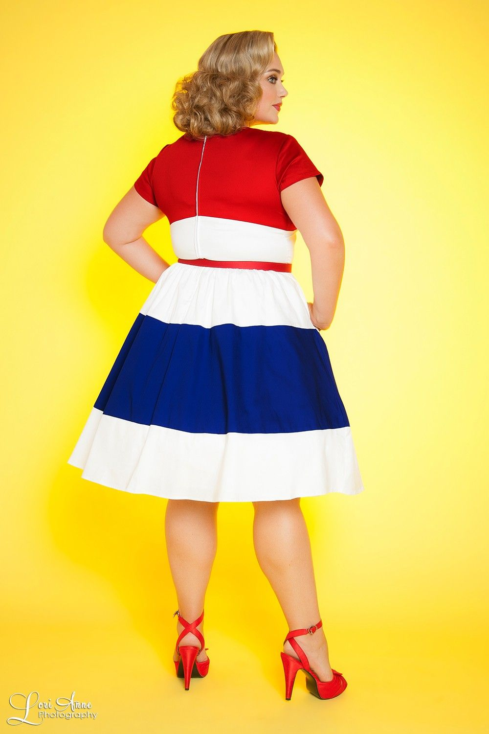 Amanda Dress in Red White and Royal Blue - Plus Size   Dapper Day ...